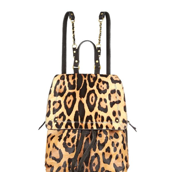 Jerome Dreyfus Florent Leopard-Print Calf Hair Backpack