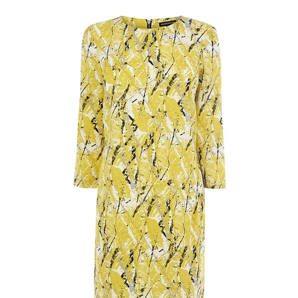 Warehouse Yellow Texture Print Dress