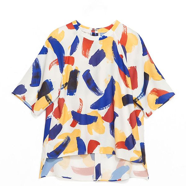 Zara Zara Blouse With Small Brush Strokes Print