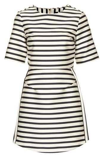 Topshop Satin Stripe A-Line Dress