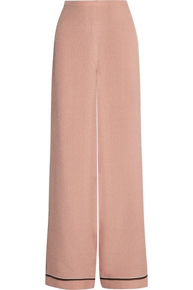 Rochas Silk-Cloque Wide-Leg Pants