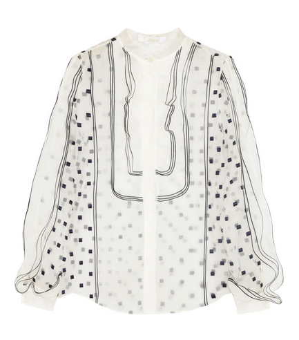 Chloe Embroidered Organza Blouse