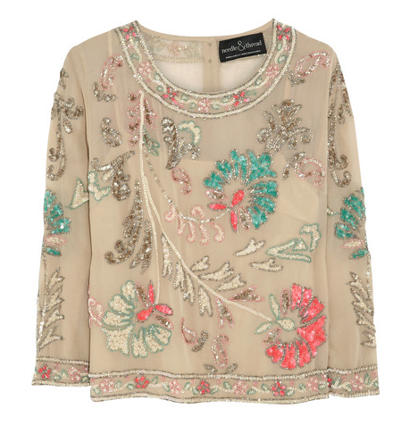 Needle & Thread Paradise Flower Embellished Crepe Top