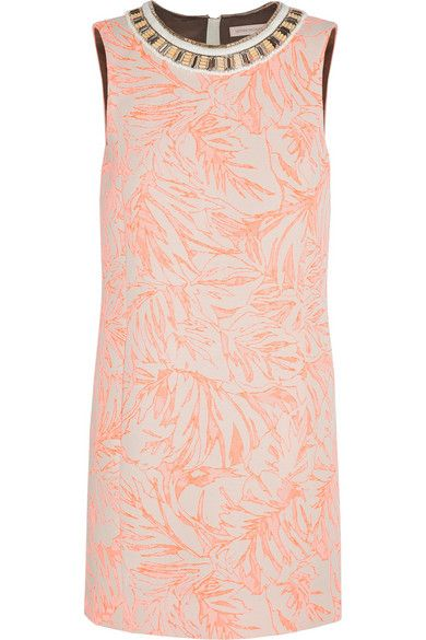 Matthew Williamson Botanical Embellished Jacquard Mini Dress