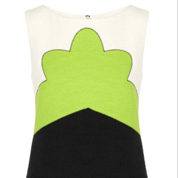 Carven Color-Block Tweed Dress