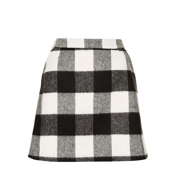 Topshop Brushed Gingham A-Line Skirt