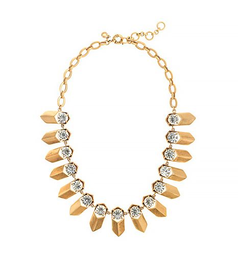 J. Crew Brass and Crystal Petal Necklace