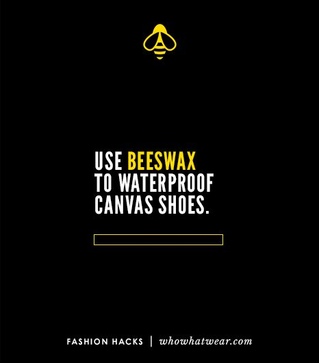 Naturally waterproof your canvas shoes by rubbing them with beeswax and setting it with a blow-dryer.