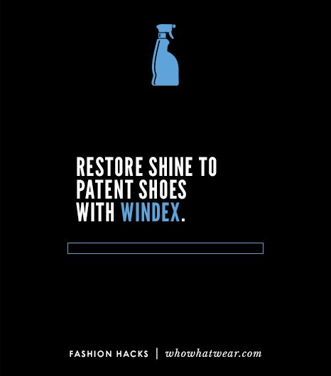 Windex can be used to safely restore the sheen to patent shoes.