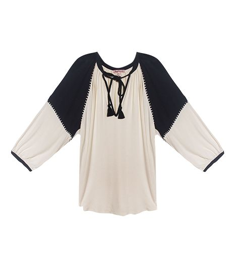 Juicy Couture Mixed Fabric LS Gypset Top