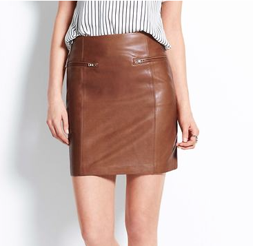 Ann Taylor Metro Leather Pencil Skirt