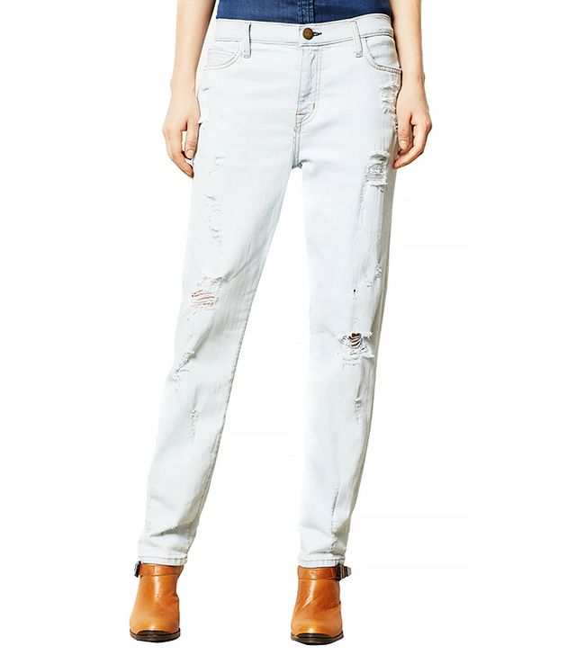 Current/Elliott Fling Boyfriend Distressed Jeans ($238)  Wear These Jeans With: A ribbed sweater + mules