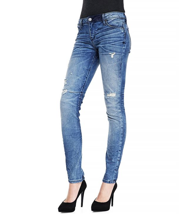 RtA Denim 70s Distressed Crinkled Slim Jeans ($225)  Wear These Jeans With: A varsity jacket + side-swept hair