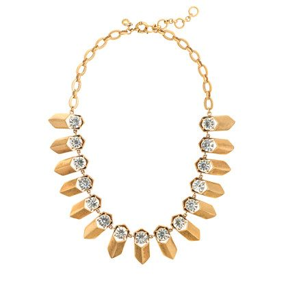 J.Crew Brass And Crystal Petal Necklace