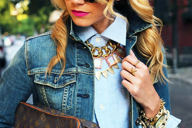 Secret 3: For a collar effect, layer chunky necklaces that rest right on top of each other.