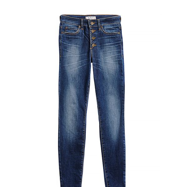 Guess 1981 High-Rise Button-Front Skinny Jeans