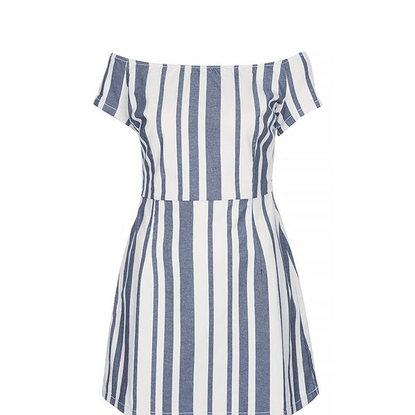 Topshop Moto Stripe Denim Dress