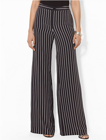 Ralph Lauren Pinstriped Wide-Leg Pants