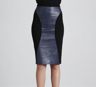 Rebecca Minkoff Della Leather-Panel Pencil Skirt
