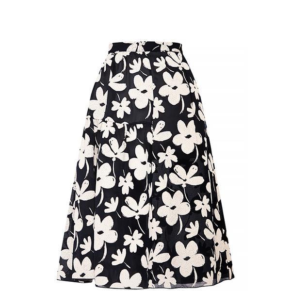 Marni Floral-Print Flared Gauze Skirt
