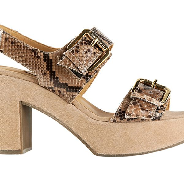 L'Autre Chose Python Textured Sandals