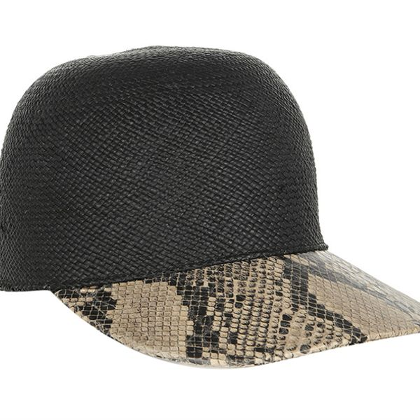 Stella McCartney Raffia and Faux Python Baseball Cap