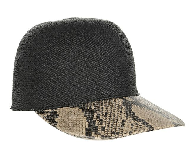 Stella McCartney Raffia and Faux Python Baseball Cap ($400)