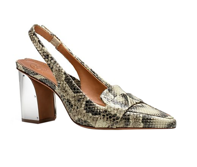 Tory Burch Sadie Snake-Print Mid-Heel Slingbacks ($325)