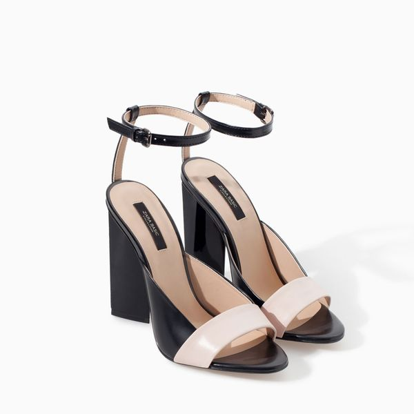 Zara Leather High Heel Geometric Pattern Sandal