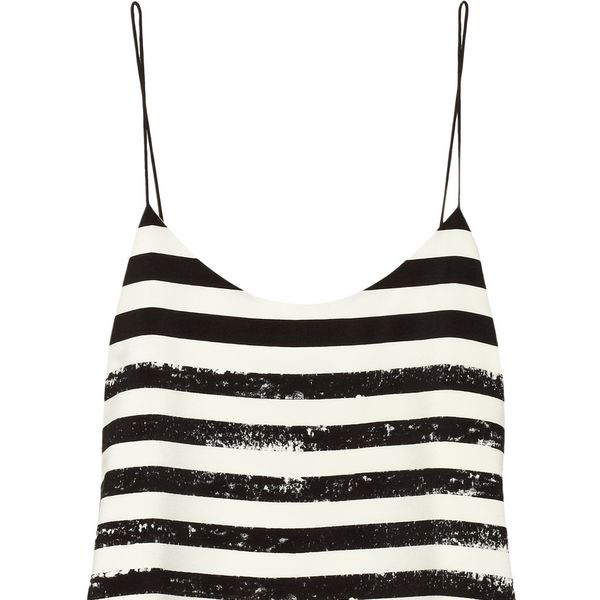 Tibi Striped Crepe De Chine Camisole