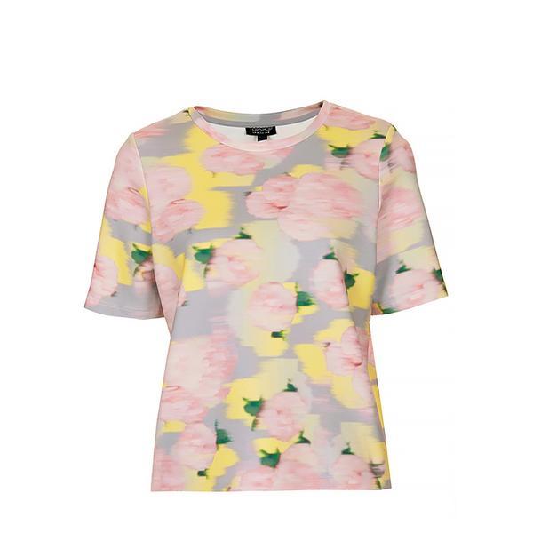 Topshop Blurred Floral Print Scuba Top