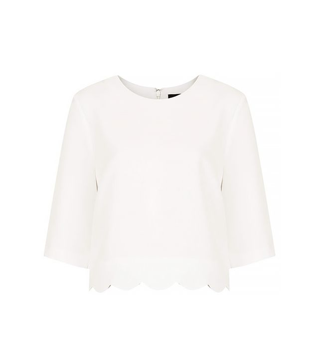 Topshop Tall Scallop Hem Crop Tee ($68) in Off White