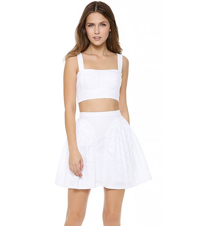 Jill Stuart Priscilla Flower Bustier Top ($248) in White