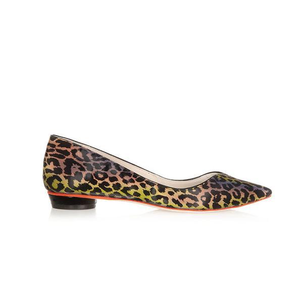 Sophia Webster Loca Leopard-Print Holographic Flats