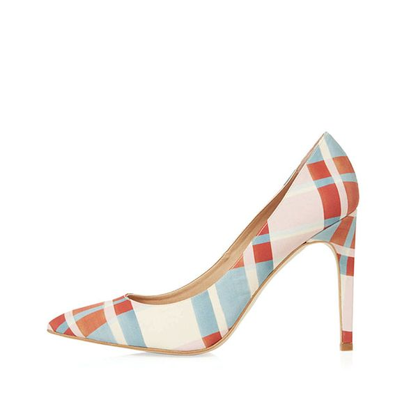 Topshop Glory Check Print Court Shoes