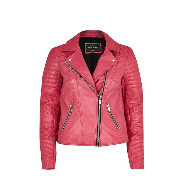 River Island Dark Pink Leather Biker Jacket