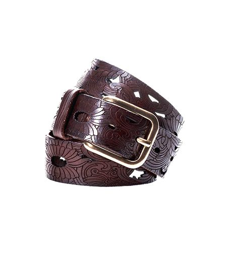Massimo Dutti Floral Embossed Leather Belt