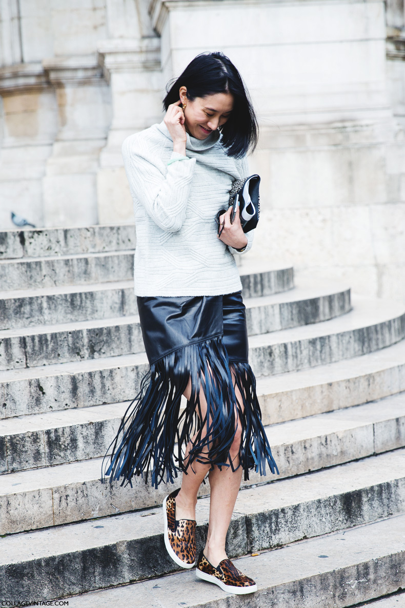 Eva Chen in fringed - tassel skirt
