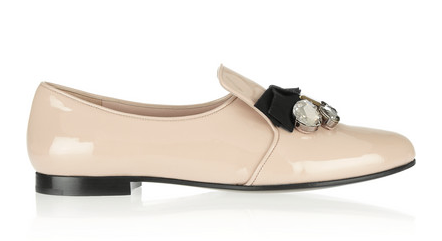 Miu Miu Embellished Patent-Leather Loafers