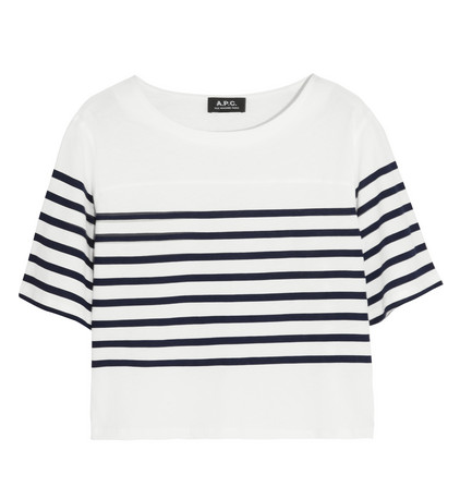 A.P.C. Atelier De Production Et De Création Cropped Striped Cotton T-Shirt