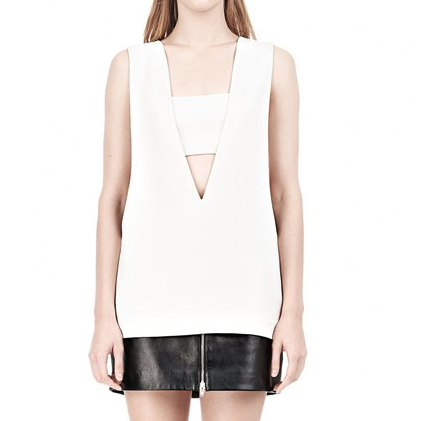 T by Alexander Wang Crepe Low V-Neck Tank Top