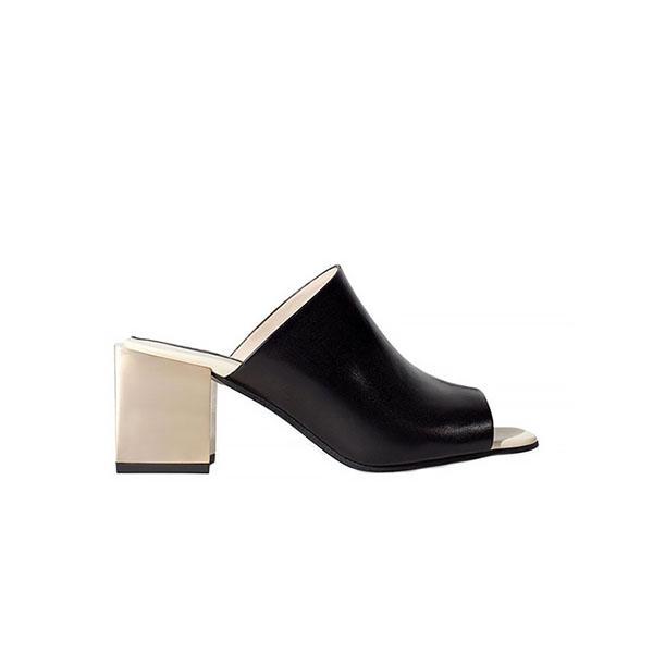 Zara Leather Wide Heel Mules