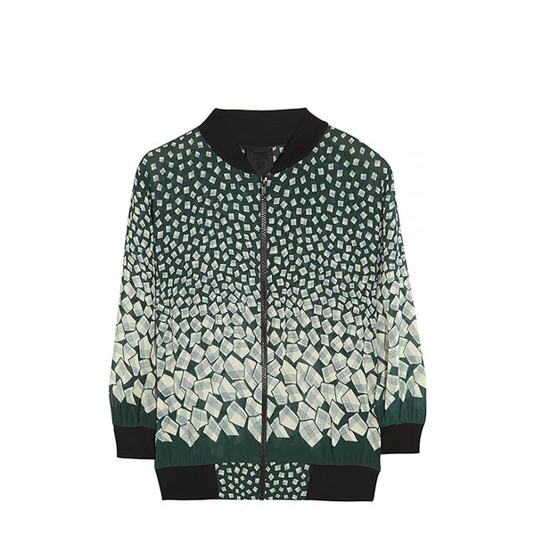 Anna Sui Letter Printed Georgette Bomber Jacket