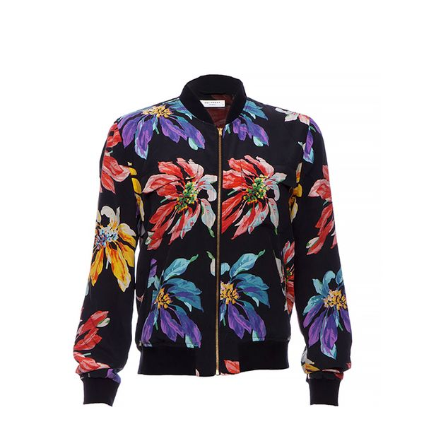 Equipment Silk Floral Bomber Jacket