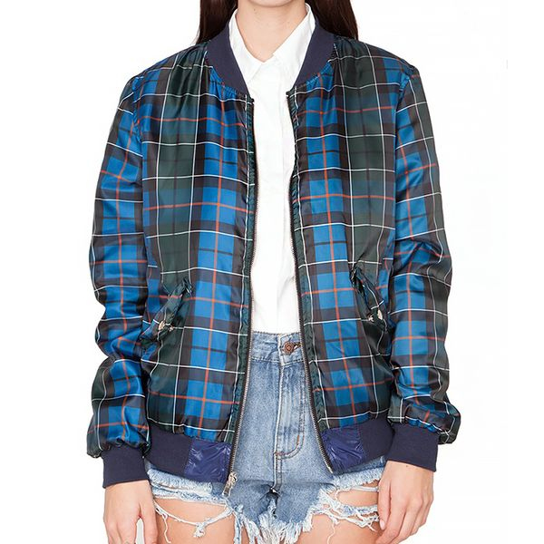 Pixie Market Plaid Reversible Bomber Jacket