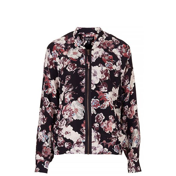 Topshop Blurred Flower Bomber Jacket