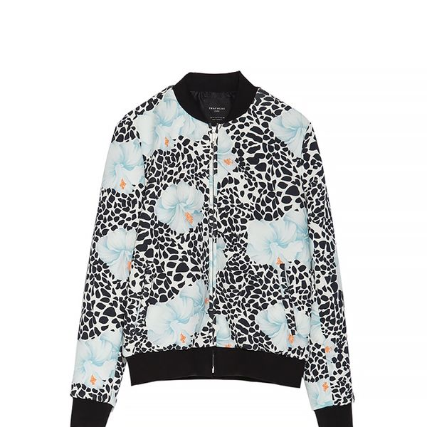 Zara Printed Neoprene Bomber Jacket