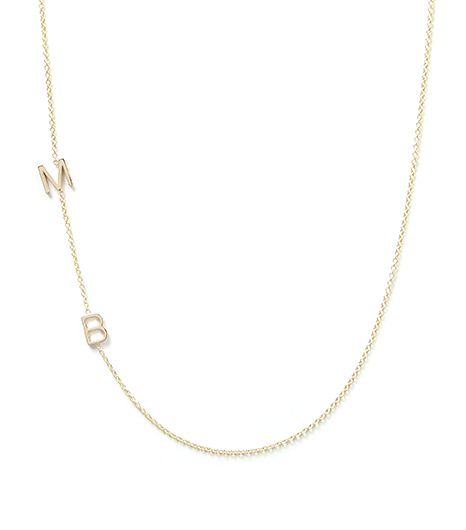 Maya Brenner Asymmetrical Mini Letter Necklace