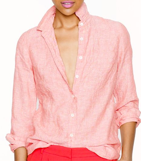 J Crew Crosshatch Linen Shirt