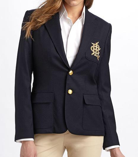 Ralph Lauren Blue Label Custom Wool Crested Blazer